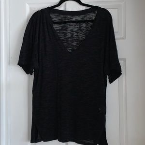 Free People Oversized Black Tee